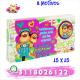 Caja rectangular con chocolates,botón y mensaje