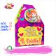 Caja de carton decorada con mensajes, botón y chocolates
