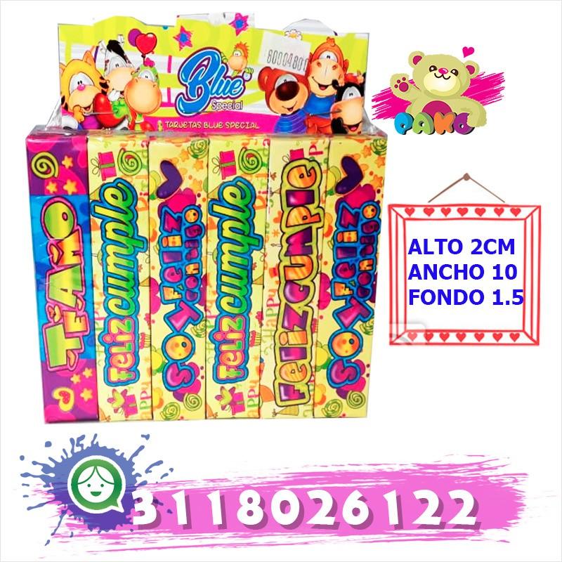 Paquete que contiene 6 cajas de chocolates con su respectivo mensaje