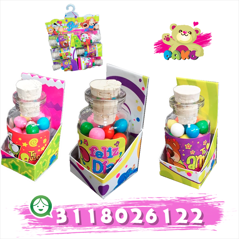 Mini botella con dulces y mensajes